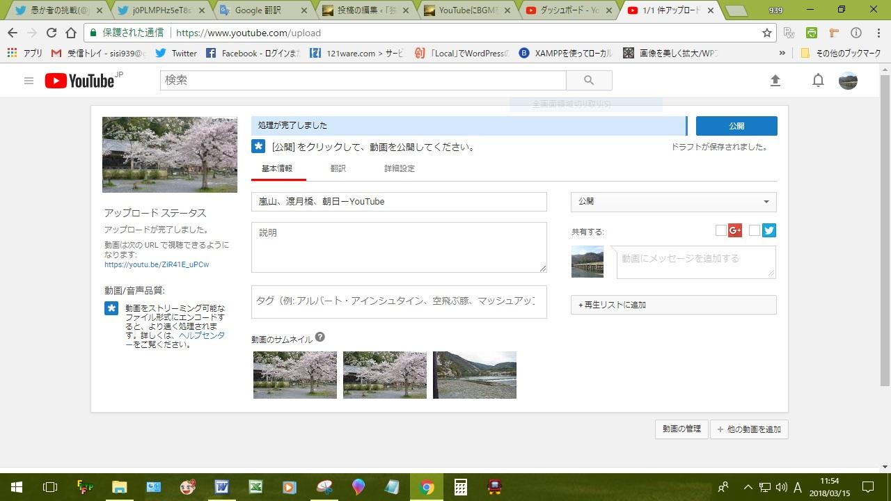 桜の動画をアップロード