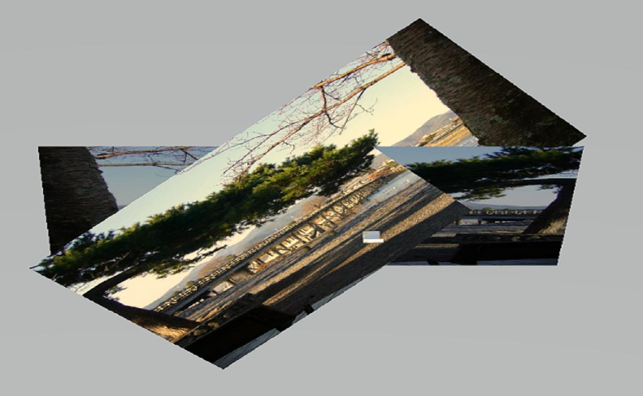 ペイント3D作成された渡月橋の風景